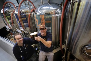 Beer brothers (-in-law) Adam Robbings and Mike Pfeiffer. Photo by Ellen Banner/The Seattle Times.