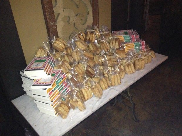 "Copies of ""The Unprejudiced Palate"" and Angela's biscotti / Photo courtesy of Tom Owen"
