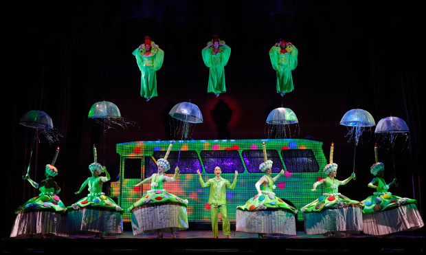 "Wade McCollum (center) and company in ""Priscilla Queen of the Desert.""/Joan Marcus"