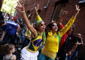 World Cup fans in Nord Alley. Photo by Erika Schultz/The Seattle Times.