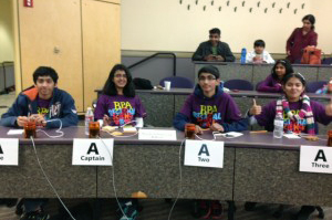 Science Infinity Club regional winners (left to right) Rahul Chaliparambil, Neha Nagvekar, Dhruvik Parikh and Veenadhari Kollipara. In back is alternate Sagarika Samavedi. (Contributed photo)