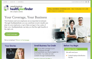 Insurance exchange home page for small businesses.