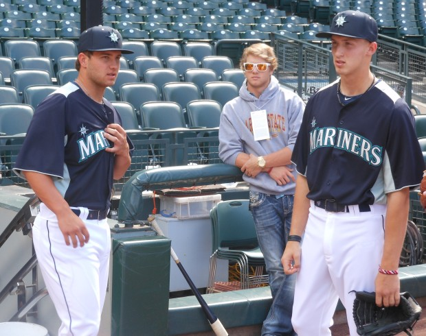 Mariners first-round DJ Peterson (left) was at Safeco Field today, along with fourth-rounder Ryan Horstman, a LHP from St. John's. In the background is Dustin Peterson, DJ's brother and a second-round pick of the Padres.