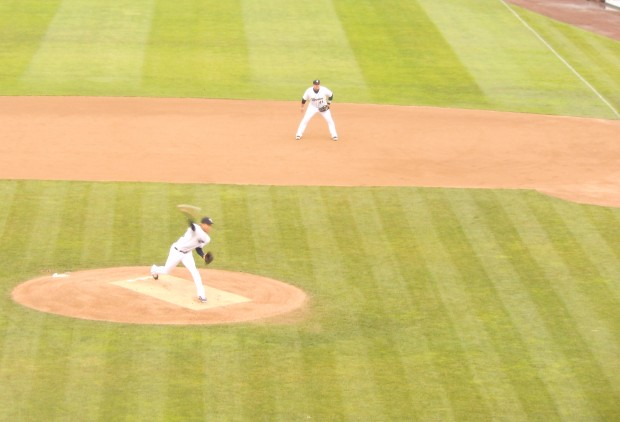 Taijuan Walker's first pitch for the Rainiers.