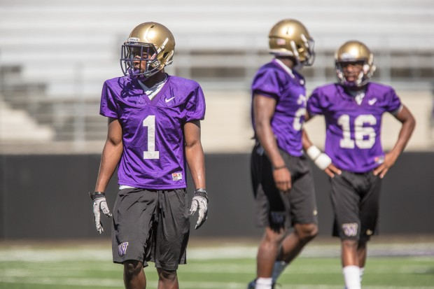 UW true freshman John Ross (1) is listed as a starter at wide receiver against Boise State. (Dean Rutz/The Seattle Times)