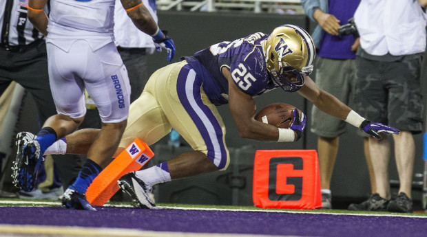 Bishop Sankey needs three touchdown to match Napoleon Kaufman's UW record. (Dean Rutz/The Seattle Times)