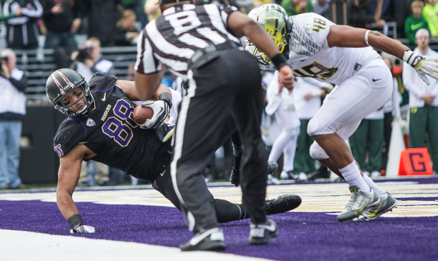 UW's Austin Seferian-Jenkins comes down in bounds for an 8-yard touchdown in the first quarter against Oregon, tying the score at 7. (Dean Rutz/The Seattle Times)