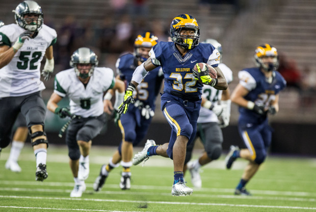 Bellevue's Budda Baker, considered the top recruit in the Northwest, runs for a 47-yard touchdown against Skyline at Husky Stadium in September. (Dean Rutz/The Seattle Times)