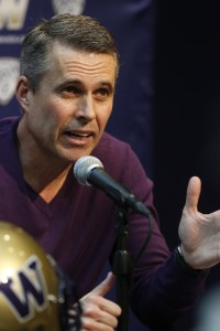 UW coach Chris Petersen at Monday's press conference. (Mark Harrison/The Seattle Times)