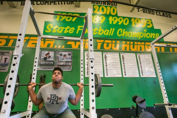Jaimie Bryant, while grayshirting the past year, has been working out on his own at his alma mater, Tumwater High. (Dean Rutz/The Seattle Times)