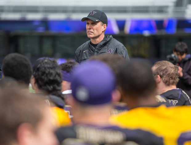 Chris Petersen had a 92-12 record at Boise State. (Dean Rutz/The Seattle Times)