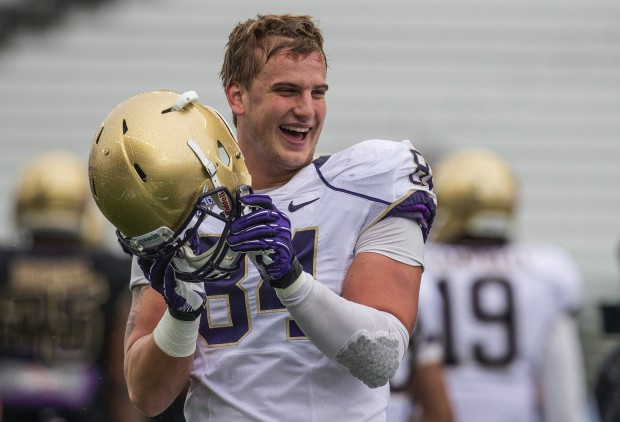 Senior Michael Hartvigson is UW's most experienced tight end. (Dean Rutz/The Seattle Times)