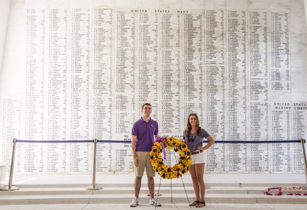 The Washington band brought a wreath to be laid beneath the names of those lost in to the USS Arizona.