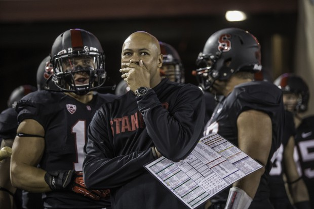 Stanford coach David Shaw prepares to take the field against Washington last season at Stanford Stadium. (Dean Rutz/The Seattle Times)