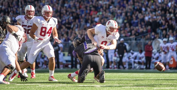 Stanford quarterback Kevin Hogan fumbles at the UW 10-yard line after a hit by Shaq Thompson. (Dean Rutz/The Seattle Times)