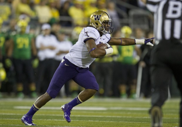 UW's Shaq Thompson intercepted Marcus Mariota in Eugene in 2012. (Dean Rutz/The Seattle Times)