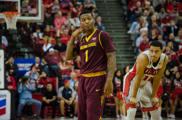 Arizona State point guard Jahii Carson — seen here during ASU's 86-80 win on Tuesday — scored a career-high 40 points. (Daniel Ward - The Rebel Yell)