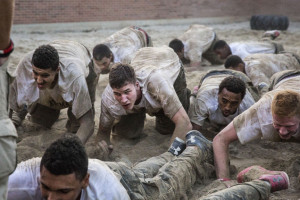 Utah players participate in Navy SEAL training exercises during Sept. 19 to 21. (Photo credit: Utah Athletics)
