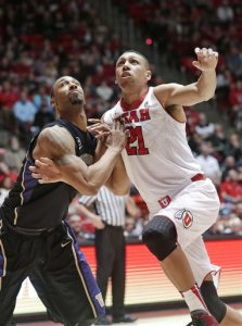 Jordan Loveridge, right, goes up for a rebound. (Photo credit: AP)