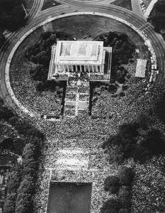 "This aerial view shows crowds at the Lincoln Memorial in Washington during Martin Luther King Jr.'s ""I Have A Dream"" speech on Aug. 28, 1963. (Associated Press photo)"