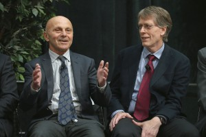 University of Chicago professor Eugene Fama, left, and his university colleague Lars Peter Hansen speak at the university after learning they had won the Nobel Prize in Economics. (Photo by Scott Olson/Getty Images)