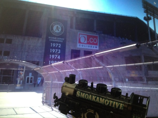 The Smoakamotive arrives at The Coliseum in Oakland, looking to do some damage ahead of tomorrow's opener.