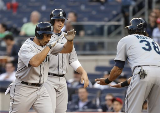 Raul Ibanez is congratulated at the plate after hitting a grand slam last night off Yankees starter Phil Hughes in the first inning. Photo Credit: AP