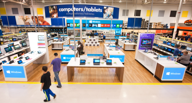 The Windows Stores within Best Buy locations are designed to showcase a range of Microsoft products. (Photo from Microsoft)