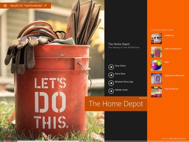 "Home Depot's ""Hero ad,"" part of a pilot project from Bing Ads. (Photo from Microsoft)"