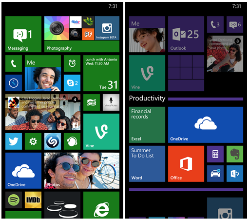 The Windows Phone 8.1 Update will add the Live Folders feature. (Screenshot of photo from Microsoft)