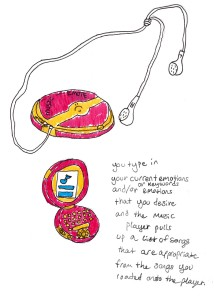 "A homeless young person designed and drew the ""Music Emote,"" a device that serves up songs based on how its user is feeling."