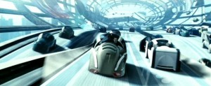 "Driverless cars zoom down highways in the 2002 film ""Minority Report."""