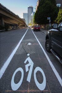 A recently added bike lane on 7th Street between Cherry and Marion. [Dean Rutz, The Seattle Times.]