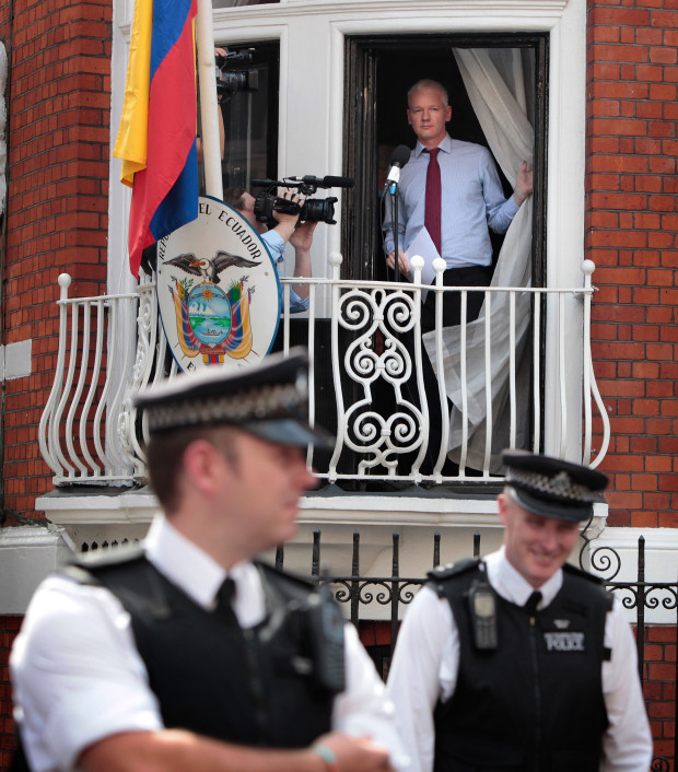 Julian Assange at Ecudorian embassy