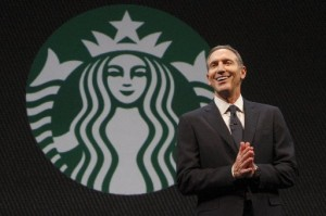 CEO Howard Schultz at Starbucks' shareholder meeting earlier this year (Greg Gilbert / The Seattle Times)