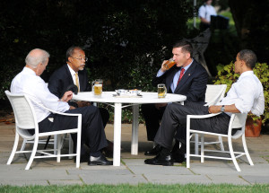 President Barack Obama, right, meets with Sgt. James Crowley of the Cambridge Police Department, second from right, Harvard professor Henry Louis Gates Jr., second from left, and Vice President Joe Biden at the White House in Washington, D.C., on Thursday, July 30, 2009. (Olivier Douliery/Abaca Press/MCT)