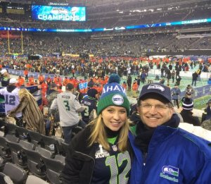 Randy Aliment and daughter at Super Bowl last February in East Rutherford, N.J.