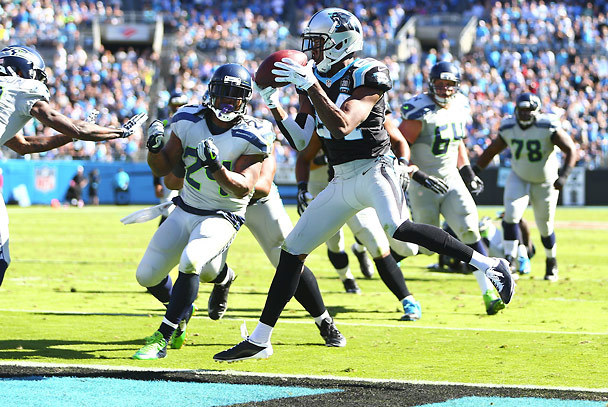 Carolina Panthers cornerback Josh Norman intercepts a pass near the goal line by quarterback Russell Wilson intended for running back Marshawn Lynch late in the second quarter. (Photo by John Lok / The Seattle Times)