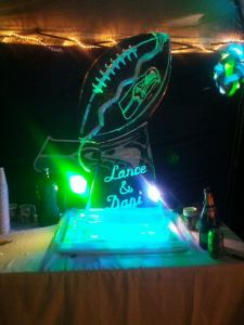 Dani's Blue Friday wedding on July 4 included this Lombardi Trophy ice sculpture.