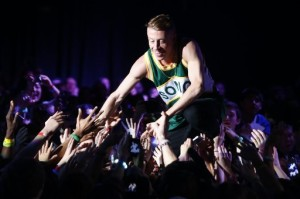 Macklemore communing with the faithful at We Day in March 2013. (Photo by Erika Schultz)