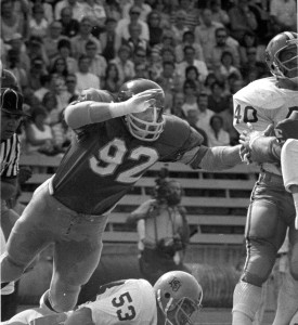 Paul Strohmeier as a defensive end for the Huskies.  Photo courtesy of UW Athletics