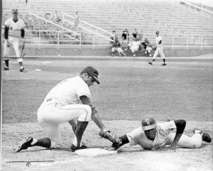 Mike Hegan of the Seattle Pilots tags San Diego's Ivan Murrell too late on a pickoff move to first base in a sprint-training photo from March 1970. The Pilots moved to Milwaukee and became the Brewers a few weeks later.  Seattle times file, 1969