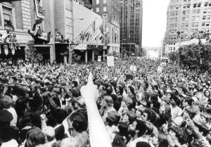 Thousands of fans gathered in 1979 to celebrate the Sonics NBA Championship.  Vic Condiotti / Seattle Times staff, 1979