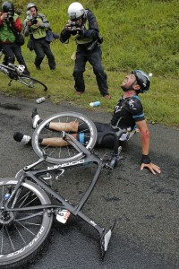 Spain's Xabier Zandio is shown after he crashed during the sixth stage of the Tour de France.  Christophe Ena / The Associated Press