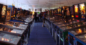 A row of pinball machines at the Pinball Hall of Fame in Las Vegas. Photo by Bobak Ha'Eri