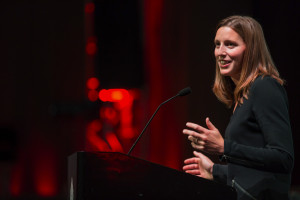 Katie Brown, a teacher from Shuksan Middle School in Bellingham, gives a speech after being named the 2014 Washington State Teacher of the Year, during the Washington State Teacher of the Year Awards Ceremony and Announcement event on Monday, Sept. 23, 2013 at the EMP Museum, in Seattle. Byline: Marcus Yam / The Seattle Times