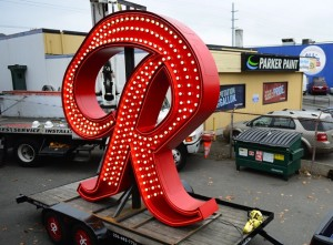 "The Rainier ""R"" before it began it's tour of Seattle Tuesday. The icon is scheduled to be installed today. (Photo by LINDSEY WASSON / THE SEATTLE TIMES)"