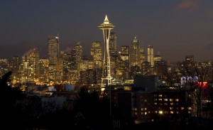 The Space Needle Christmas tree will be illuminated on Friday evening. (File photo by Rod Mar / The Seattle Times / 2007)