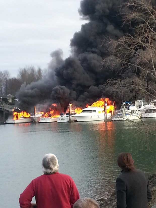 Boats burn at the marina in La Conner (Swinomish Yacht Club photo).