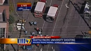 This image from television shows emergency responders at SPU. Though the screen caption references a second shooter, police say there was only one gunman.